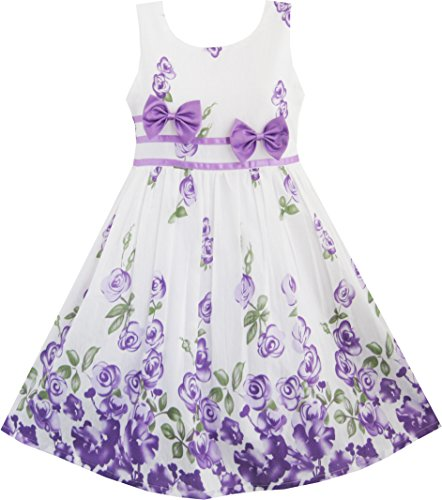 Sunny Fashion Vestido de niña con diseño de rosas y moño doble, vestido de fiesta, Vestido de verano, Púrpura, blanco