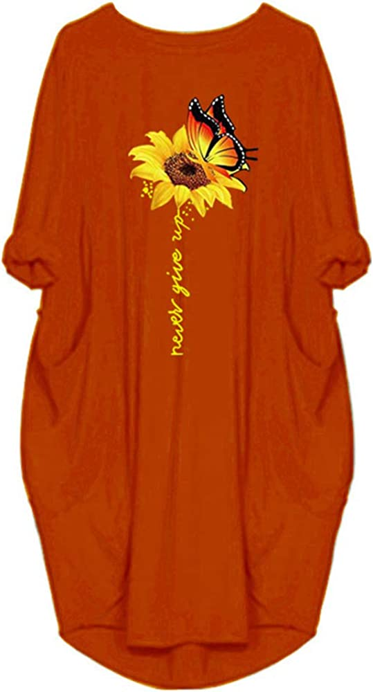 WSIRMET Women's Round Neck Long Sleeve Sunflower Print Casual Loose Irregular Oversize Baggy Midi Tunic Dress with Pockets