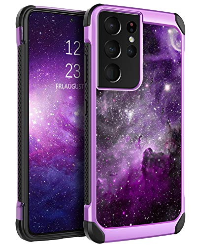 BENTOBEN Compatible with Samsung Galaxy S21 Ultra Case 6.9 Inch 2021,Slim Fit Glow in The Dark Shockproof Protective Hybrid Hard PC Soft TPU Bumper Drop Protection Girl Women Cover,Nebula/Space Design
