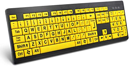 Large Print Computer Keyboard, Wired USB High Contrast Keyboard with Oversized Print Letters for Visually Impaired Low Vision Individuals (Yellow+Black)