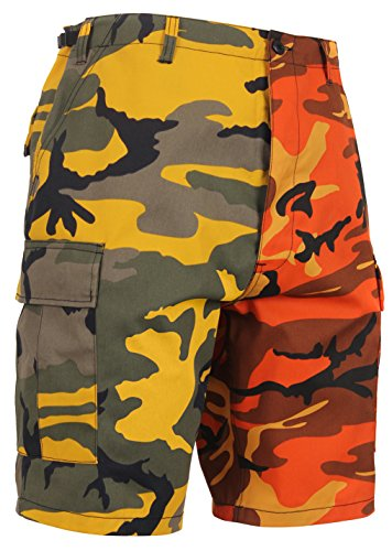 Rothco Two-Tone Camo BDU Short, Stinger Yellow/Savage Orange Camo, L