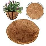 YHNHT Cesta colgante redonda de coco, forro de repuesto de fibra de coco de 12 pulgadas, 100% natural, redondo, fibra de coco y coco, para macetas