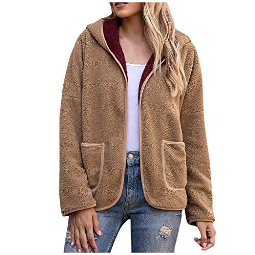 ELUP Donna Cappotto Vendita Moda Tinta unita Teddy Peluche Outwear Inverno All'aperto Caldo Giacche Spesse Beige S
