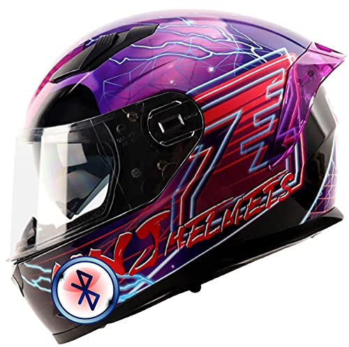 STTTBD Bluetooth Casco de Moto,Aprobado por ECE Casco de Moto con Visera para Mujeres y Hombres Casco de Moto Abierto para Mofa Scooter Cruiser Pilot Biker Racing Casco A,XL-(57-59CM)