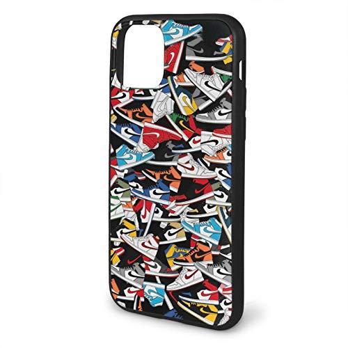 Leonsense Jordan 1 Sneakers Colorways Pattern Funda de Teléfono Negra Compatible con iPhone 12/12Pro MAX 11 11 Pro MAX XR XS SE 2020/7/8 6/6s Plus Samsung Series Caso