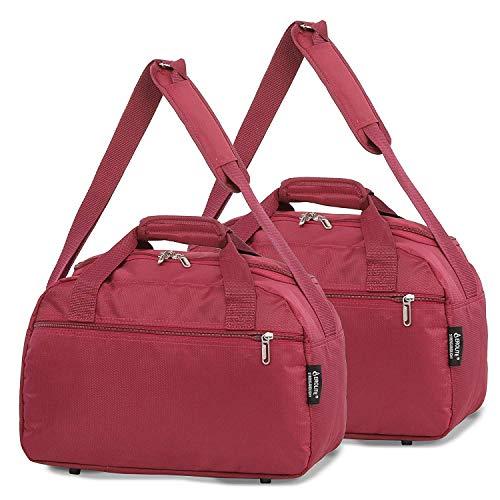 Aerolite 40x20x25 New November Ryanair Maximum Size Holdall Cabin Luggage Under Seat Flight Bag (2X Wine)