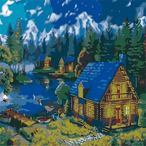 KJHYTR DIY Pintura Al Óleo Adultos Niños Pintura por Arte Y Manualidades ,Principiante ,Decoraciones para El Hogar - Cabina - 16 * 20 Pulgadas Sin Marco