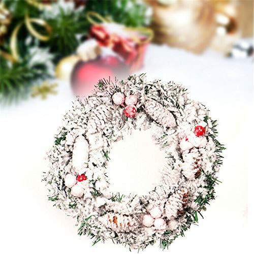 YFNEWWORLD Christmas Decoration Wreath, Flocked Pine Snow Spray Decorative Garland Front Door Tree Hanging Round Garland Holiday Ornaments, 30cm