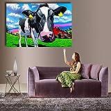 ganlanshu Pintura sin Marco Estilo Moderno Mural Lienzo decoración del hogar Pintura al óleo Arte Vaca en la hierbaZGQ3681 50X75cm