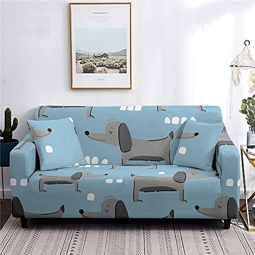 Fundas Sofas 3 y 2 Plazas Ajustables Huevo De Pato Azul Gris Fundas para Sofa Elasticas Spandex Fundas Sofa Lavables Desmontables Funda Sillon Modernas Universal Espesas Fundas de Sofa