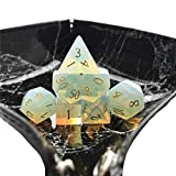 Amatolo Stone Dice , Set of 7 Handmade Dices for RPGs ,Dungeons & Dragons Dice Made by Natural Gemstones. (A6 Opal)