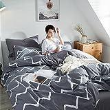 Juego de ropa de cama de algodón, 3 piezas, incluye 1 funda nórdica de 200 x 200 cm/220 x 240 cm y 2 fundas de almohada de 50 x 75 cm, suave y transpirable, atmósfera sencilla, 200 x 200 cm.