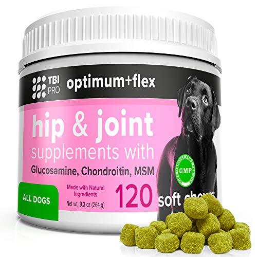 TBI Pro Optimum+Flex  Premium  Soft Chews Dog Joint Supplement, Chondroitin/Glucosamine for Dogs, Canine Care, Hip Joint Supplements for Dogs with Arthritis Pain Relief Senior, Chewable Dog Vitamins