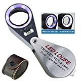 10x Magnification Jeweler Loupe Triplet Lens Magnifier with 6 LED UV 21mm Light for Gems, Jewelry, Coins, Stamps, etc