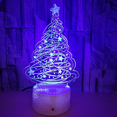 Optische Täuschung 3D Weihnachtsbaum Nacht Licht 7 Farben Andern Sich USB Adapter Touch Schalter Dekor Lampe LED Lampe Tisch Kinder Geburtstag Weihnachten Geschenk