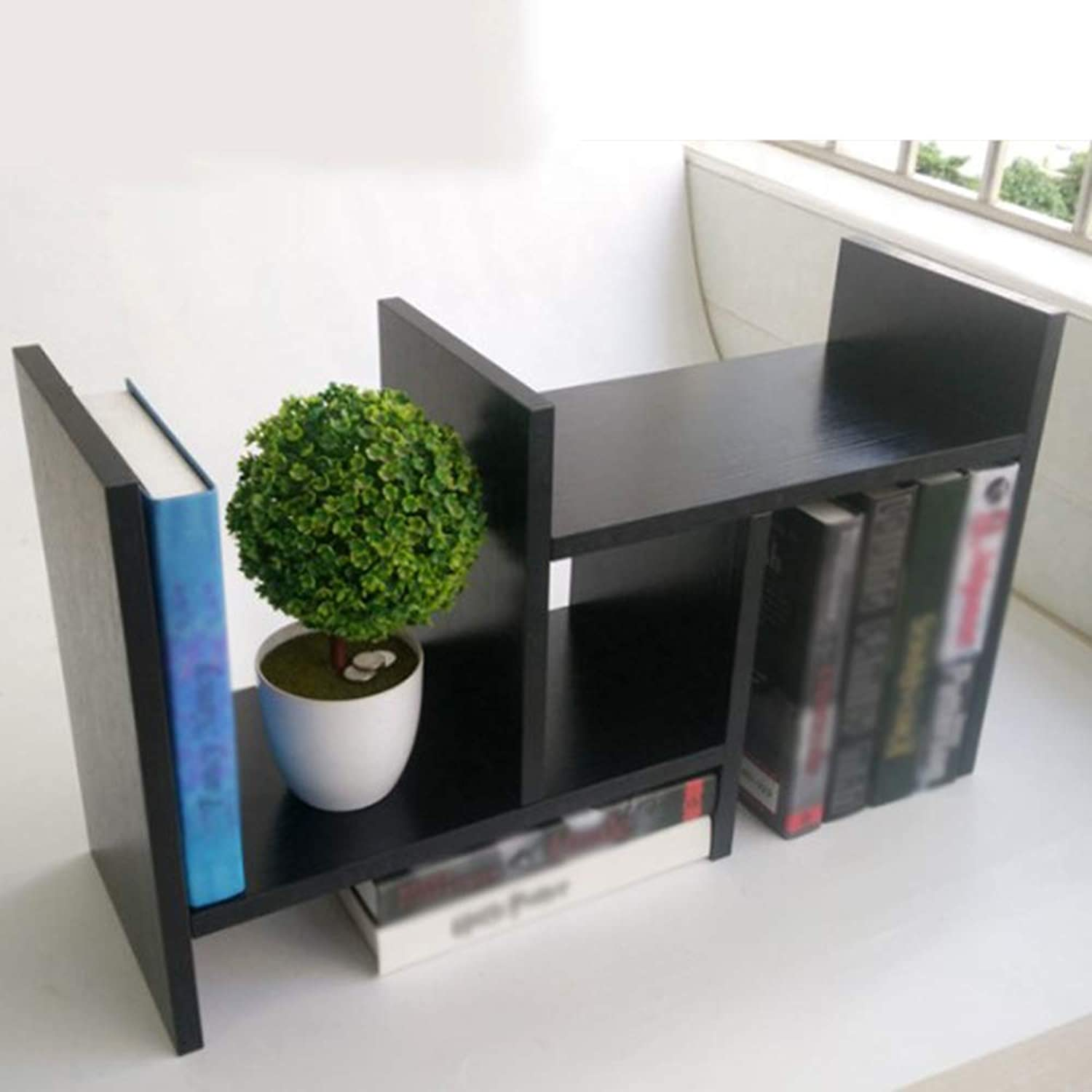 Bookcase,Wooden Adjustable Small Bookshelf Storage Rack Desktop Bookshelf Shelf White, Black, Wood color,Black