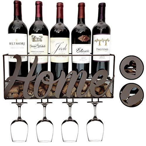 MKZ Products Weinregal zur Wandmontage | Weinflaschenhalter | hängender Stielglashalter | Korkaufbewahrung | Aufbewahrungsregal | Heim- & Küchendekoration (Zuhause – Braun)
