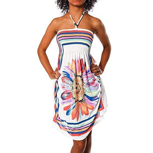 Diva-Jeans Damen Sommer Aztec Bandeau Bunt Tuch Kleid Tuchkleid Strandkleid Neckholder H112, Farbe: F-027 Weiß, Größe: Einheitsgröße