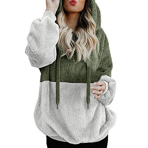 Mujer Caliente y Esponjoso Tops Chaqueta Suéter Abrigo Jersey Mujer Otoño-Invierno Talla Grande Hoodie Sudadera con Capucha riou (1-Verde, S)