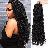 AISI BEAUTY Crochet Faux Locs 20 Inch Goddess Locs Crochet Hair Braiding Hair Extension with Deep Ends Heat Resistant Hair 24 Roots 6Pcs/lot (Color 1B#)