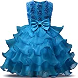 NNJXD Girl Dress Kids Ruffles Lace Party Wedding Dresses Size (100) 2-3 Years Flower Blue