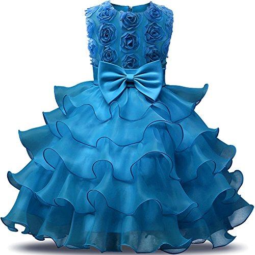 NNJXD Mädchen Kleid Kinder Rüschen Spitze Party Brautkleider Größe(110) 3-4 Jahre Blumen Blau