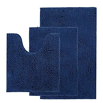 "AOACreations Bathroom Rugs Luxury Ultra Soft Chenille Bath Mat 3 Piece Set, 1 Large 20"" x 32"", 1 Contour 20"" x 20"" and 1 Small 16"" x 24"", Shaggy Plush Water Absorbent (3-Piece Contour Set, Navy Blue)"