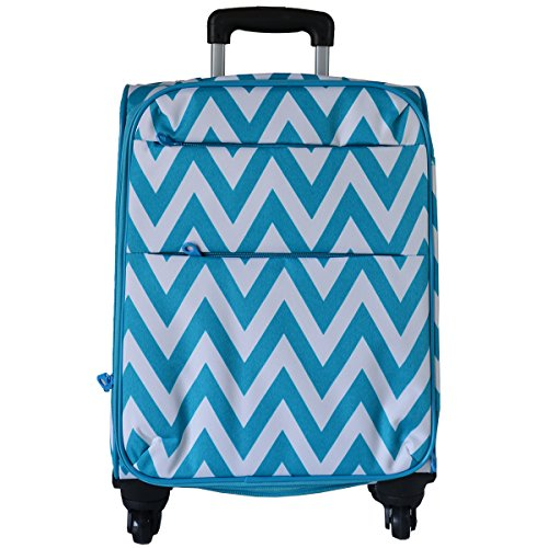 Ever Moda Chevron 360 Spinner Luggage Carry On (Teal Blue)