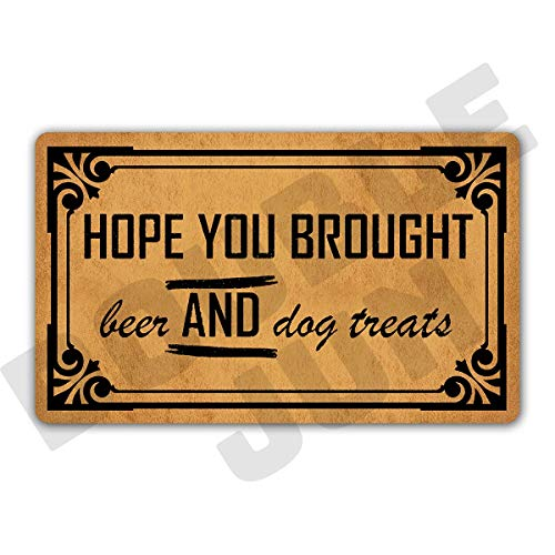 "DoubleJun Hope You Brought Beer and Dog Treats Floor Rug Indoor/Front Door Mats Home Decor Machine Washable Rubber Non Slip Backing 29.5""(W) X 17.7""(L)"
