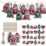 Herefun 24 Calendario de Adviento, Bolsa de Regalo Navidad, Bolsas para Rellenar con Calendario de...