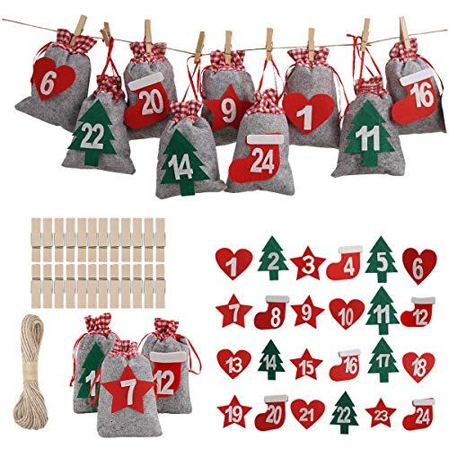 Herefun 24 Calendario de Adviento, Bolsa de Regalo Navidad, Bolsas para Rellenar con Calendario de Adviento Casero, Bricolaje Calendario Adviento, Calendario Adviento Navidad (3)