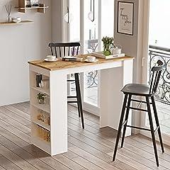 Yurupa Bartisch,Küchentisch,Küchentresen,Küchenbartisch mit 4 Regalfächern