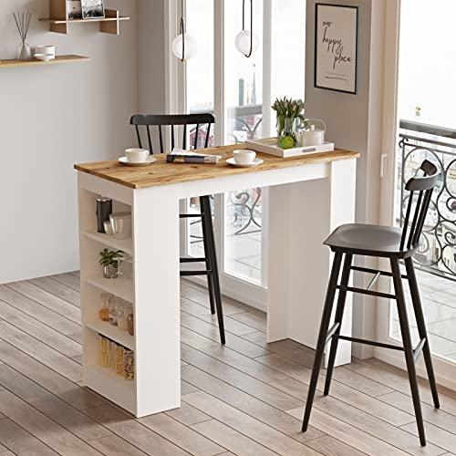 Yurupa Yurupa Bartisch,Küchentisch,Küchentresen,Küchenbartisch mit 4 Regalfächern Bild