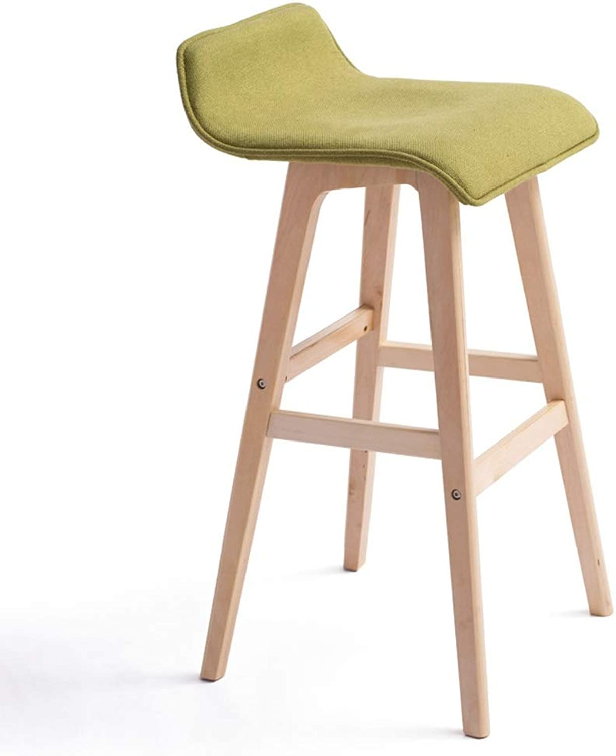 Solid Wood bar Chair Coffee Chair Counter Stool bar Stool Fabric Cushion Detachable Suitable for Coffee Shop Living Room Club SUGEWANJBD (color   Green, Size   74cm)