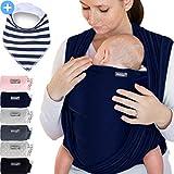 Babytragetuch Marineblau – hochwertiges Baby-Tragetuch für Neugeborene und Babys bis 15 kg - inkl. GRATIS Baby-Lätzchen
