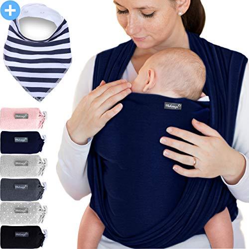 Makimaja - Fascia porta bebè blu marino – tracolla di alta qualità per neonati e bambini fino a 15 kg – cotone leggero – include una borsa portaoggetti e un bavaglino