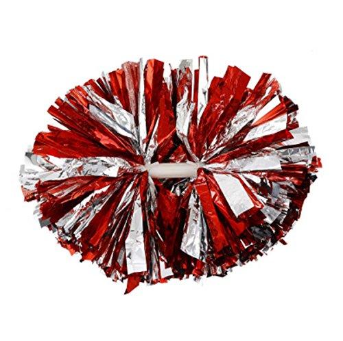 Black Temptation 1 Paar Silver + ROT Metallic Folie & Plastikstock Pom Poms Cheerleading Poms