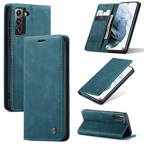 Funda de piel Para Samsung Galaxy S21 Premium PU Cartera de cuero, 2 en 1 Funda de cubierta de billetera magnética de 2 en 1, cuero suave mate + Funda de cáscara de fondo TPU con ranura para tarjeta
