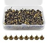 CZ Store Clavos de Bronce para Tapicería -17X11mm|Juego 150|✮✮GARANTÍA DE POR VIDA✮✮- Chinchetas Decorativas para Sillas, Muebles - Vintage, Acabado Latón Antiguo