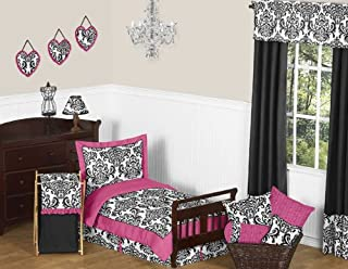 Sweet Jojo Designs 5-Piece Hot Pink, Black and White Isabella Girls Toddler Bedding Set