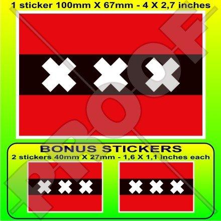 AMSTERDAM Drapeau Pays-Bas, Nederland Dutch Drapeau, 100mm Vinyle Autocollant, x1+2 BONUS Stickers