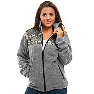 Trailcrest Women's C-Max Full Zip Fleece Jacket, Mossy Oak Mountain Country Camo (Grey Heather - Small)