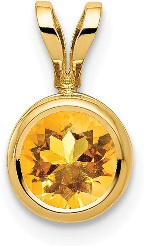 14k Yellow Gold Los OFFicial shop Angeles Mall 6mm Bezel Pendant Citrine