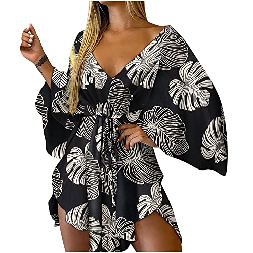 Wedding Guest Dresses For Women,Casual Knot Front V Neck Ruffles Long Sleeve Floral Print Loose Swing Mini Dress