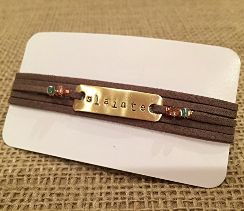 IF - Hand Stamped Leather Wrap Brown Slainte Bracelet, Irish Bracelet, Adjustable Bracelet, Irish Jewelry, Celtic Bracelet - Made in Wisconsin