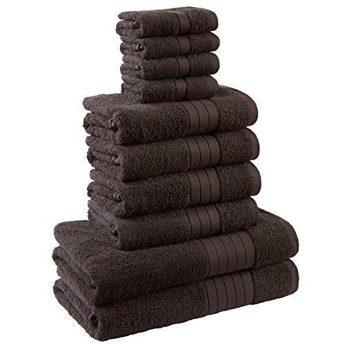 Dreamscene–Juego de toalla de lujo, 100% algodón egipcio, Chocolate, 10unidades)