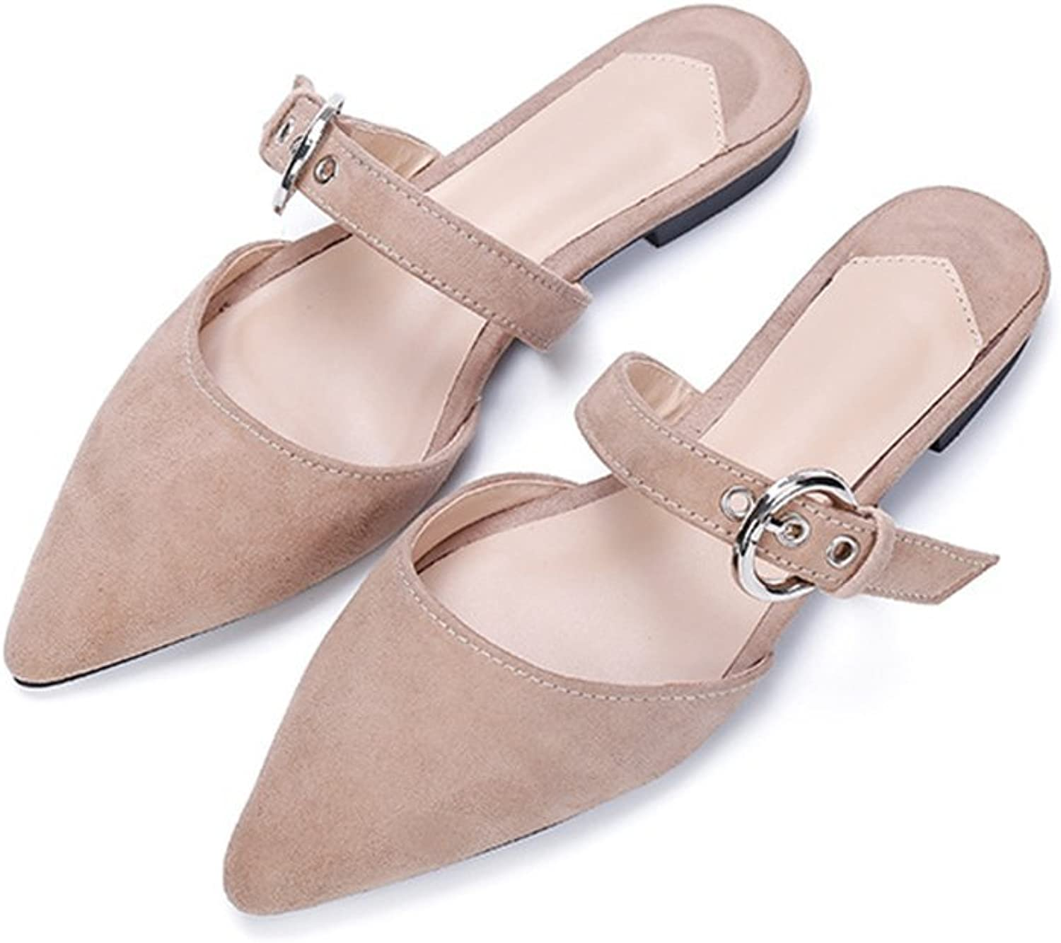 Mule Slides,Pointed Toe Slipper shoes Bow On Me Pointed Toe Flat