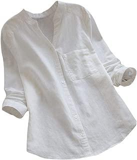 Women Cotton Linen Casual Loose Button-Down Shirt Solid Long Sleeve Basic Blouse Henley Tops