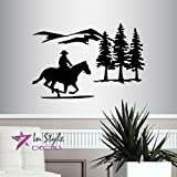 In-Style Decals Wall Vinyl Decal Home Decor Art Sticker Cowboy Riding Horse Mountains Western Boy Man Removable Stylish Mural Unique Design for Any Room 217