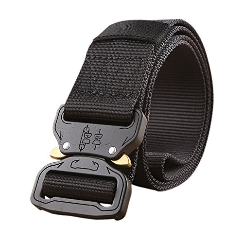 Tactical Belt Military Style Heavy Duty Belt Tactical Sports Belts (Black)